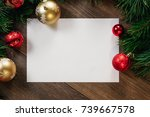 a frame of pine branches and... | Shutterstock . vector #739667578