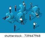 isometrics business calendar... | Shutterstock .eps vector #739667968