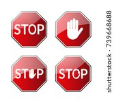 stop traffic road signs.... | Shutterstock .eps vector #739668688
