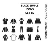 clothes set icons in black