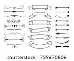 set of hand drawn text dividers ... | Shutterstock .eps vector #739670806
