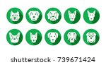 set of green dog icon in trendy ...