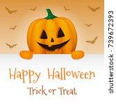 happy halloween   poster with... | Shutterstock .eps vector #739672393