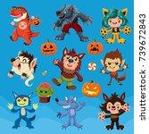 vintage halloween poster design ... | Shutterstock .eps vector #739672843