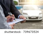 Small photo of Insurance Agent examine Damaged Car and customer filing signature on Report Claim Form process after accident, Traffic Accident and insurance concept.