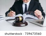 close up of gavel  male lawyer... | Shutterstock . vector #739673560