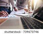 business team meeting working... | Shutterstock . vector #739673746