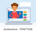 video blogger concept. vector... | Shutterstock .eps vector #739677328