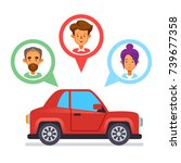 car sharing icon with flat... | Shutterstock .eps vector #739677358