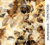 ink leaves vintage seamless... | Shutterstock . vector #739679230