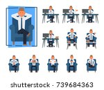 businessman work sitting front... | Shutterstock .eps vector #739684363