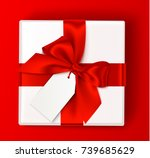 realistic white gift box with... | Shutterstock .eps vector #739685629