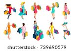 isometry of a girl buying  sale ... | Shutterstock .eps vector #739690579