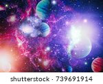 nebula and galaxies in space... | Shutterstock . vector #739691914