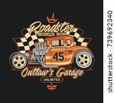 hod rod classic car illustration | Shutterstock .eps vector #739692340