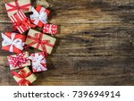 many christmas gift boxes on... | Shutterstock . vector #739694914