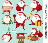 santa claus  christmas set | Shutterstock .eps vector #739695763