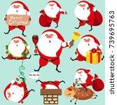 santa claus  christmas set   Shutterstock .eps vector #739695763