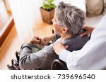 health visitor and a senior... | Shutterstock . vector #739696540