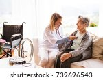 health visitor and a senior... | Shutterstock . vector #739696543