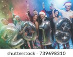 young people at the new year... | Shutterstock . vector #739698310