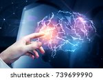 male hand pointing at abstract... | Shutterstock . vector #739699990