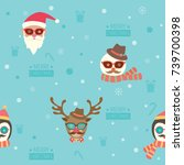 seamless pattern of merry... | Shutterstock .eps vector #739700398