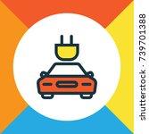 tesla colorful outline symbol.... | Shutterstock .eps vector #739701388