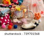 socks for children. packing... | Shutterstock . vector #739701568