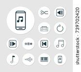 multimedia icons set.... | Shutterstock .eps vector #739702420