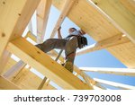roof builders mounting... | Shutterstock . vector #739703008