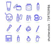 set of cosmetic icon . skincare ... | Shutterstock .eps vector #739703986
