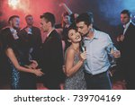 people have fun at the new year'... | Shutterstock . vector #739704169