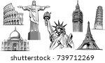 travel destinations famous... | Shutterstock .eps vector #739712269