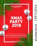 christmas party poster design.... | Shutterstock .eps vector #739713514