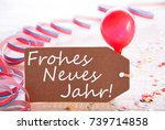 party label  balloon  frohes... | Shutterstock . vector #739714858