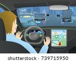 cockpit of autonomous car. self ... | Shutterstock .eps vector #739715950