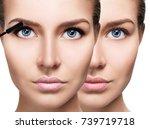 woman applying mascara on... | Shutterstock . vector #739719718