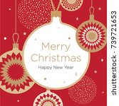 christmas card. golden... | Shutterstock .eps vector #739721653
