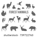 Stock vector forest animals vector silhouettes set 739722763