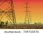 silhouette electricity pole ... | Shutterstock . vector #739723570