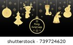 gold christmas pendants a bell... | Shutterstock .eps vector #739724620