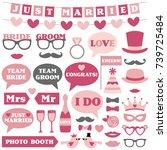 wedding vector photo booth props   Shutterstock .eps vector #739725484