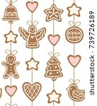 seamless pattern with christmas ... | Shutterstock .eps vector #739726189