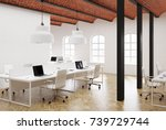 white open space office... | Shutterstock . vector #739729744