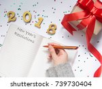 2018 new year's resolutions... | Shutterstock . vector #739730404