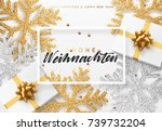 christmas background with gifts ... | Shutterstock .eps vector #739732204