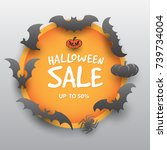 halloween sale offer design... | Shutterstock .eps vector #739734004