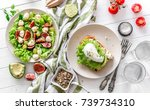 useful breakfast. salad with... | Shutterstock . vector #739734310
