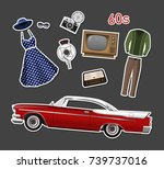 retro stikers. set of vintage... | Shutterstock .eps vector #739737016